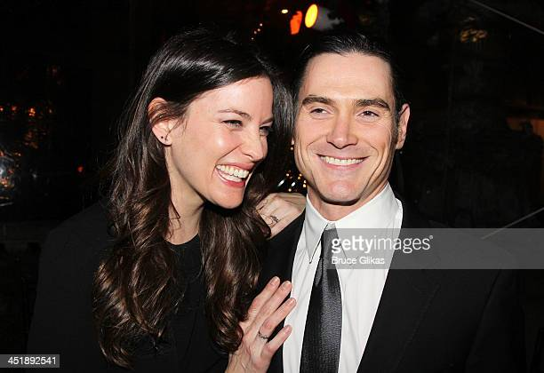 """Liv Tyler and Billy Crudup pose at the """"No Man's Land"""" & """"Waiting For Godot"""" Opening Night after party at the Bryant Park Grill on November 24, 2013..."""