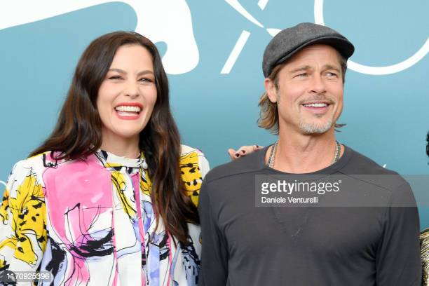 "Liv Tyler and Brad Pitt attend ""Ad Astra"" photocall during the 76th Venice Film Festival at Sala Grande on August 29, 2019 in Venice, Italy."