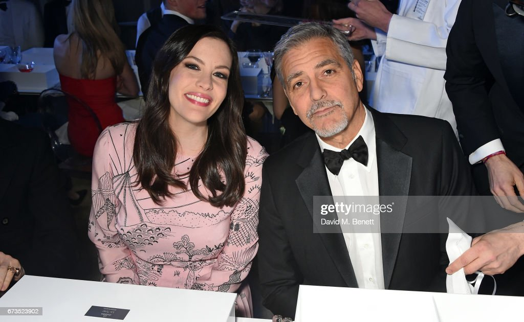 Liv Tyler and George Clooney attend the OMEGA 'Lost In Space' dinner to celebrate the 60th anniversary of the OMEGA Speedmaster, which has been worn by every piloted NASA mission since 1965, at Tate Modern on April 26, 2017 in London, England.
