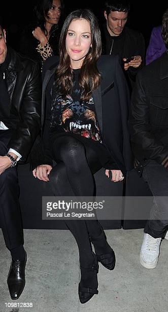 Liv Tyler attends the Givenchy Ready to Wear Autumn/Winter 2011/2012 show at the Palais de Tokyo during Paris Fashion Week on March 6 2011 in Paris...