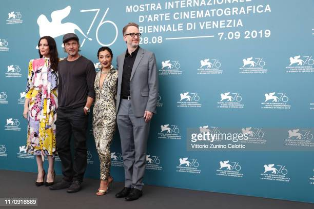 Liv Tyler Brad Pitt Ruth Negga and director James Gray attend the Ad Astra photocall during the 76th Venice Film Festival at Sala Grande on August 29...