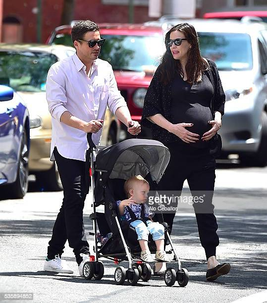 Liv Tyler Dave Gardner and son Sailor Gene Gardner are seen in the West Village on May 30 2016 in New York City
