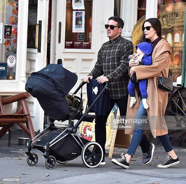 Liv Tyler David Gardner and Sailor Gene Gardner are seen in the West Village on October 30 2015 in New York City