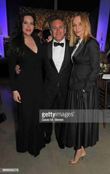 Liv Tyler Formula E CEO Alejandro Agag and Uma Thurman attend the 2017/18 ABB FIA Formula E Championship Awards Dinner following the Formula E 2018...