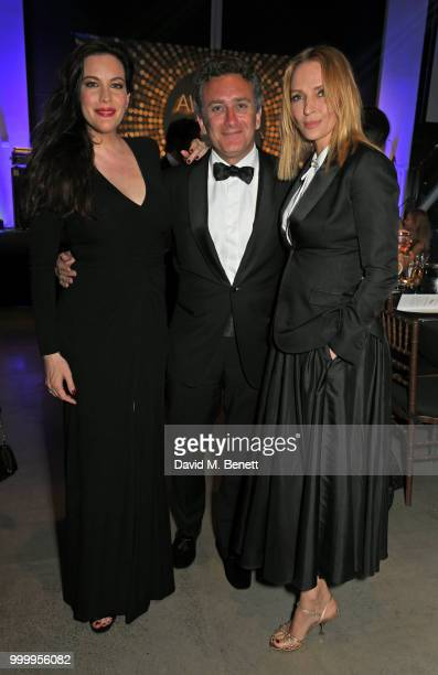 Liv Tyler Formula E CEO Alejandro Agag and Uma Thurman attend the 2017/18 ABB FIA Formula E Championship Awards Dinner following the Formula E 2018...