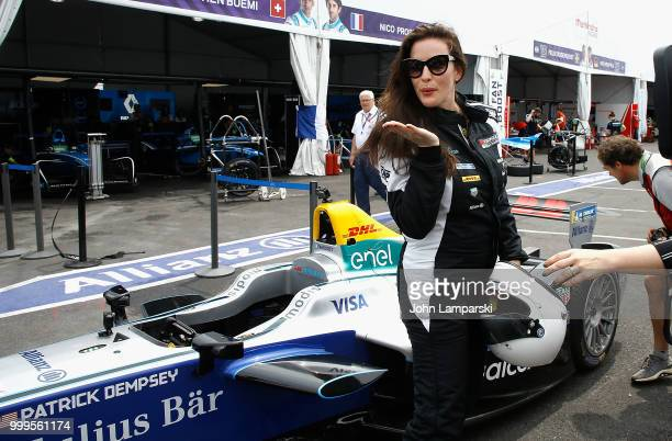 Liv Tyler is seen in the paddock during the Formula E New York City Race on July 15 2018 in New York City