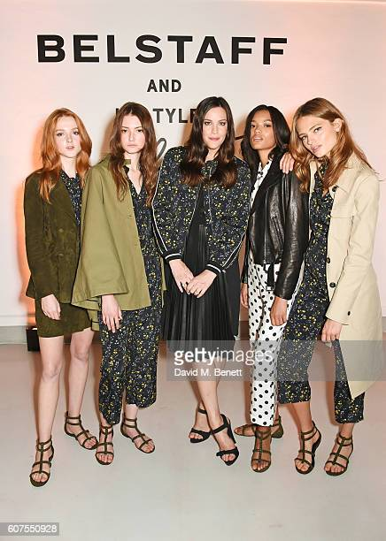 Liv Tyler poses with models as Belstaff and Liv Tyler launch the Spring Summer 17 collection during London Fashion Week at Victoria House on...