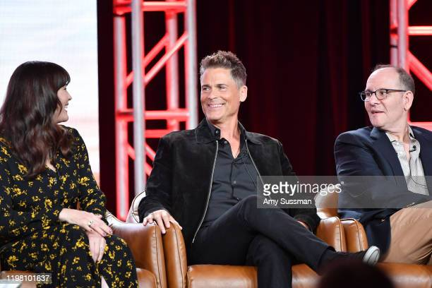 Liv Tyler Rob Lowe and Tim Minear of '911 Lone Star' speak during the Fox segment of the 2020 Winter TCA Press Tour at The Langham Huntington...