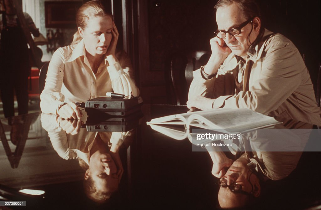 Liv Ullmann and Ingmar Bergman on the set of 'Face to Face.'
