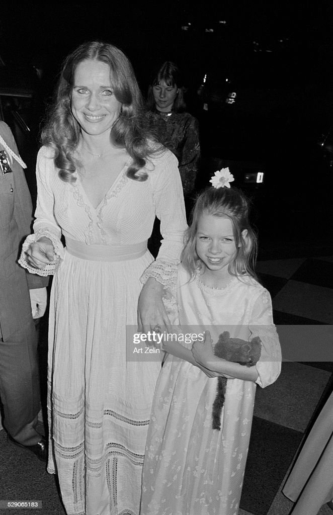 Liv Ullmann going to a formal event with her daughter Linn; circa 1960; New York.