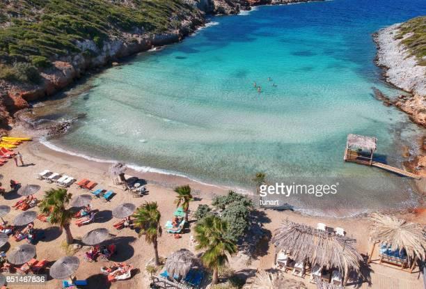 livadaki beach, samos island, greece - samos stock photos and pictures