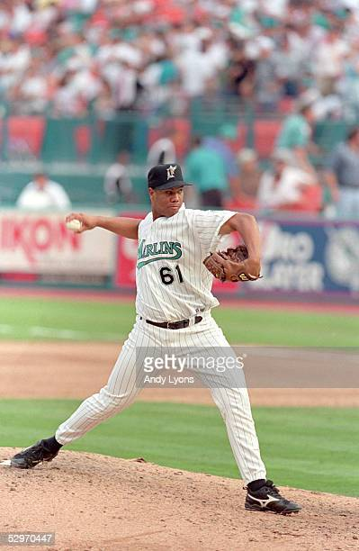 Livan Hernandez of the Florida Marlins pitches during Game two of the 1997 National League Divisional Series against the San Francisco Giants at Pro...