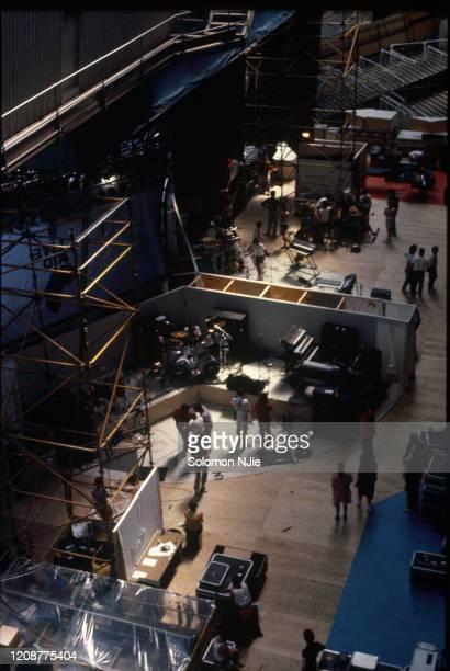 Live Aid backstage, equipment set up on revolving stage set, taken from Wembley Stadium roof, 13 July 1985 Wembley Stadium, London.