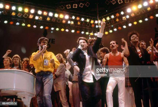Live Aid concert at Wembley Stadium All the stars on the stage at the end for the grand finale including George Michael U2 lead singer Bono and Queen...