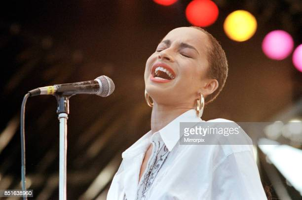 Live Aid concert held at Wembley Stadium London to raise funds for relief of the ongoing Ethiopian famine Singer Sade performing on stage 13th July...