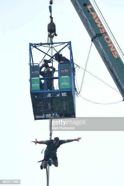 Live at Murrayfield Stadium during the Challenge Cup Final rugby legend Nick Easter bungee jumped from a 160ft high crane to raise money for...