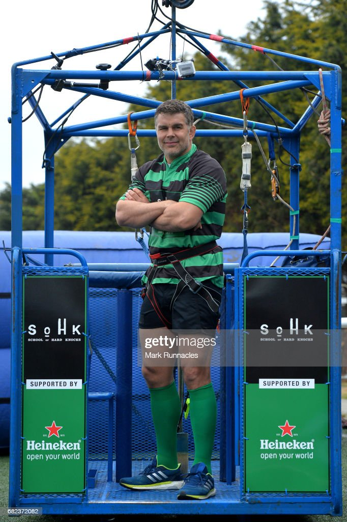 Live at Murrayfield Stadium during the Challenge Cup Final, rugby legend Nick Easter prepares to bungee jump from a 160ft high crane to raise money for employability charity School of Hard Knocks, supported by Heineken at Murrayfield Stadium on May 12, 2017 in Edinburgh, Scotland.