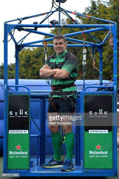 Live at Murrayfield Stadium during the Challenge Cup Final rugby legend Nick Easter prepares to bungee jump from a 160ft high crane to raise money...