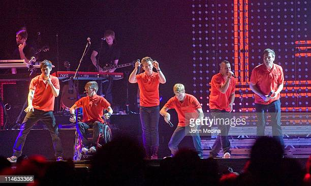GLEE Live castmembers Harry Shum Jr Kevin McHale Chris Colfer Chord Overstreet Mark Salling and Cory Monteith perform at HP Pavilion on May 24 2011...