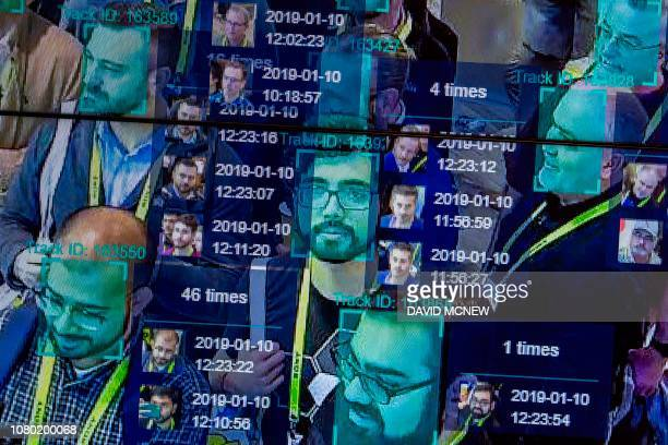 A live demonstration uses artificial intelligence and facial recognition in dense crowd spatialtemporal technology at the Horizon Robotics exhibit at...