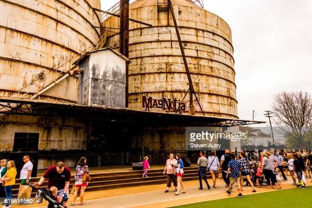 WACO, TX, USA  MARCH 18, 2017: Live entertainment stage below the Magnolia Silos.