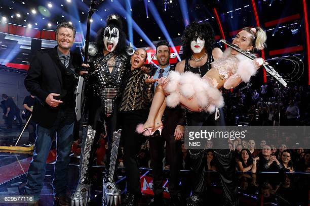 THE VOICE Live Finale Episode 1118B Pictured Blake Shelton Alicia Keys Adam Levine Miley Cyrus Members of Kiss