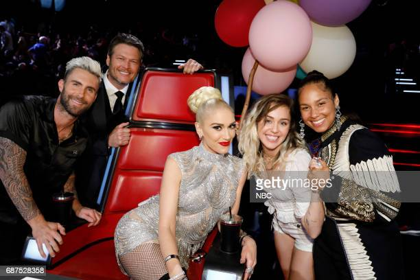 THE VOICE 'Live Finale' Episode 1219B Pictured Adam Levine Blake Shelton Gwen Stefani Miley Cyrus Alicia Keys