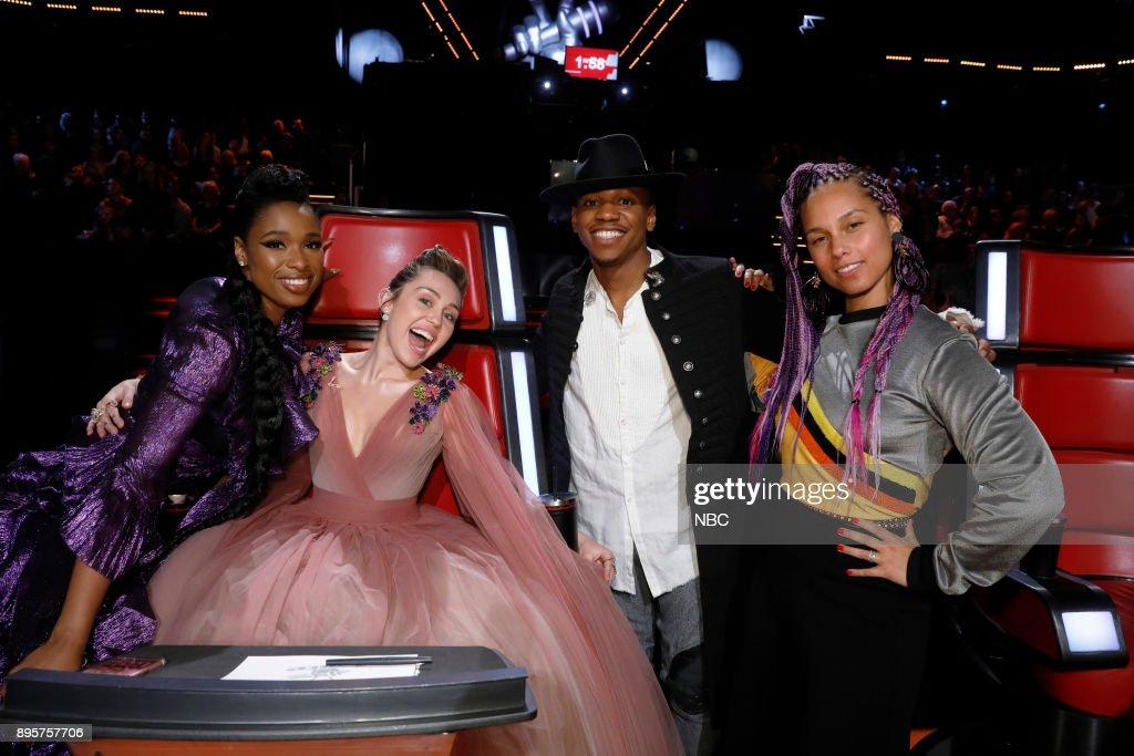 THE VOICE -- 'Live Finale' Episode 13121B -- Pictured: (l-r) Jennifer Hudson, Miley Cyrus, Chris Blue, Alicia Keys --