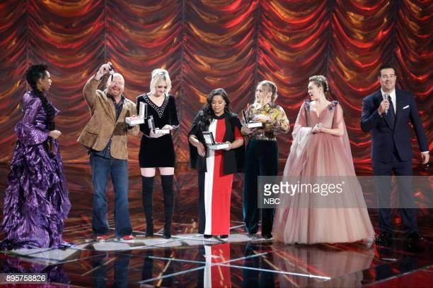 THE VOICE Live Finale Episode 1321B Pictured Jennifer Hudson Red Marlow Chloe Kohanski Brooke Simpson Addison Agen Miley Cyrus Carson Daly