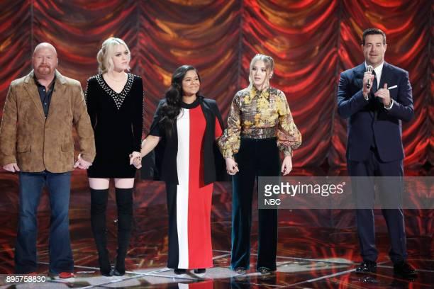 THE VOICE Live Finale Episode 1321B Pictured Red Marlow Chloe Kohanski Brooke Simpson Addison Agen Carson Daly