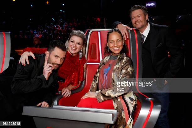 THE VOICE Live Finale Episode 1419B Pictured Adam Levine Kelly Clarkson Alicia Keys Blake Shelton