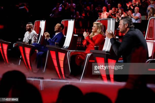 "Live Finale"" Episode 1616A -- Pictured: Adam Levine, John Legend, Kelly Clarkson, Blake Shelton --"