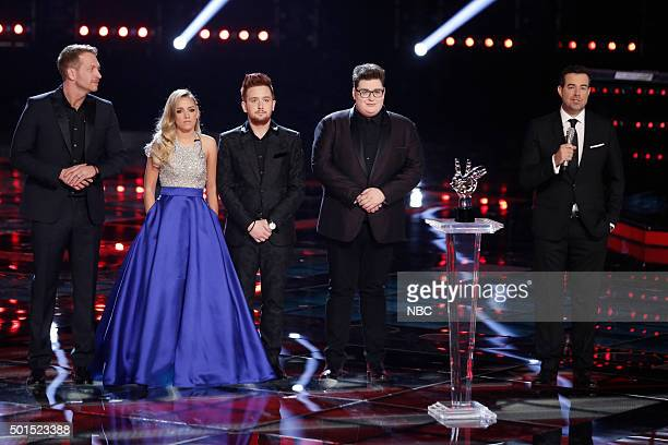 THE VOICE Live Finale Episode 918B Pictured Barrett Baber Emily Ann Roberts Jeffery Austin Jordan Smith Carson Daly