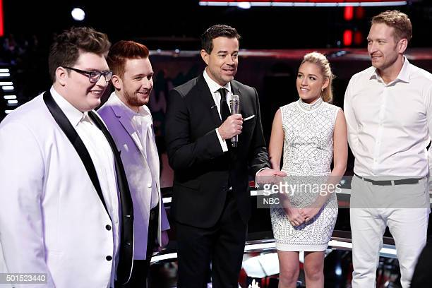 THE VOICE Live Finale Episode 918B Pictured Jordan Smith Jeffery Austin Carson Daly Emily Ann Roberts Barrett Baber