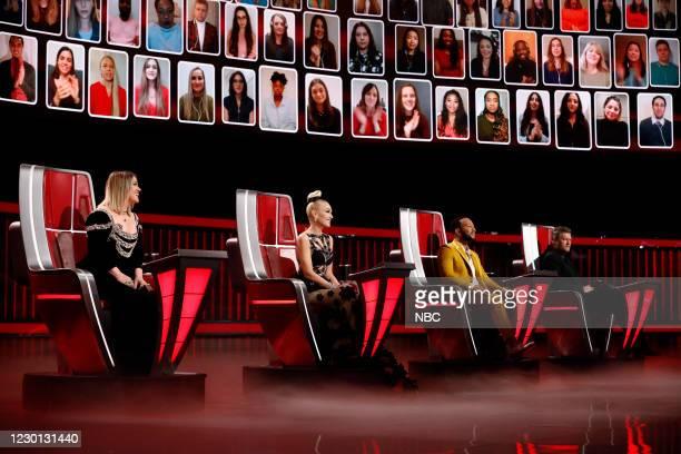 "Live Finale Performances"" Episode 1914A -- Pictured: Kelly Clarkson, Gwen Stefani, John Legend, Blake Shelton --"