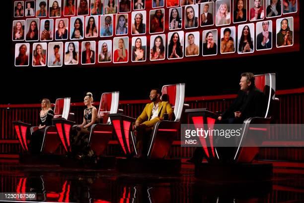 "Live Finale Performances"" Episode 1914A -- Pictured: Kelly Clarkson, Gwen Stefani, Blake Shelton --"