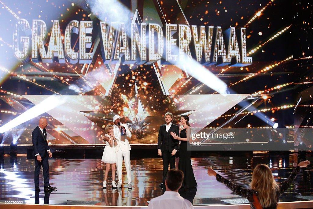 S GOT TALENT -- 'Live Finale Results' Episode 1123 -- Pictured: (l-r) Howie Mandel, Grace VanderWaal, Nick Cannon, The Clairvoyants --