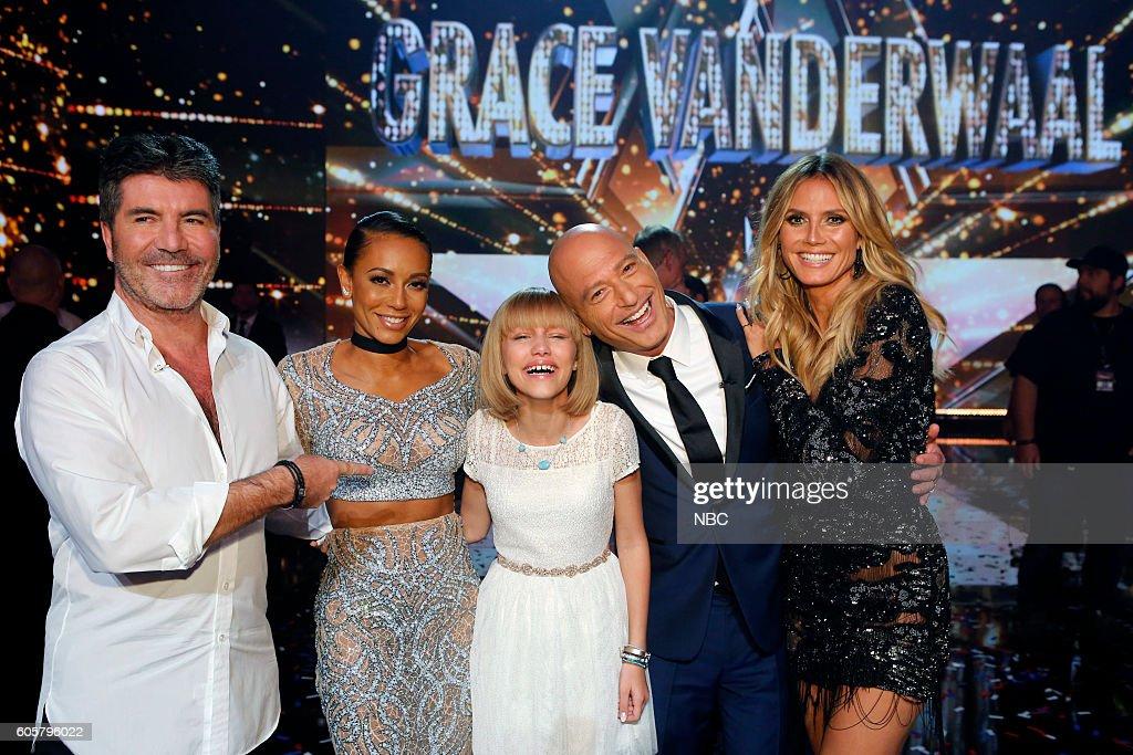 S GOT TALENT -- 'Live Finale Results' Episode 1123 -- Pictured: (l-r) Simon Cowell, Mel B, Grace VanderWaal, Howie Mandel, Heidi Klum --