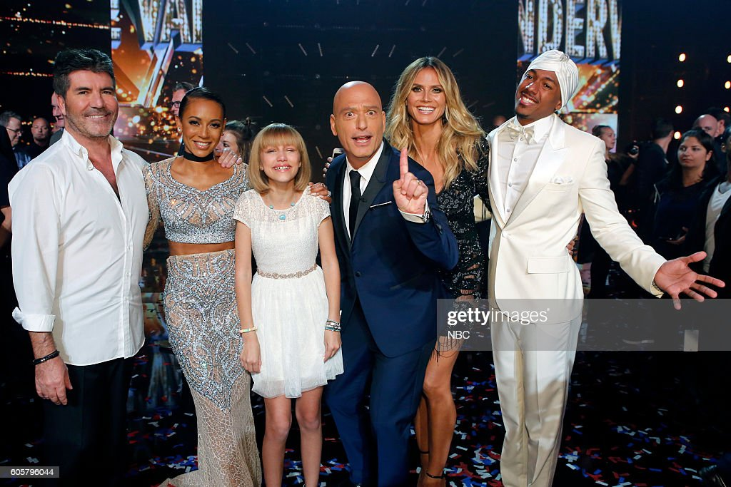 S GOT TALENT -- 'Live Finale Results' Episode 1123 -- Pictured: (l-r) Simon Cowell, Mel B, Grace VanderWaal, Howie Mandel, Heidi Klum, Nick Cannon --