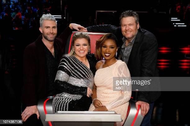 THE VOICE Live Finale Results Episode 1519B Pictured Adam Levine Kelly Clarkson Jennifer Hudson Blake Shelton
