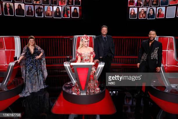 "Live Finale Results"" Episode 1914B -- Pictured: Kelly Clarkson, Gwen Stefani, Blake Shelton, John Legend --"