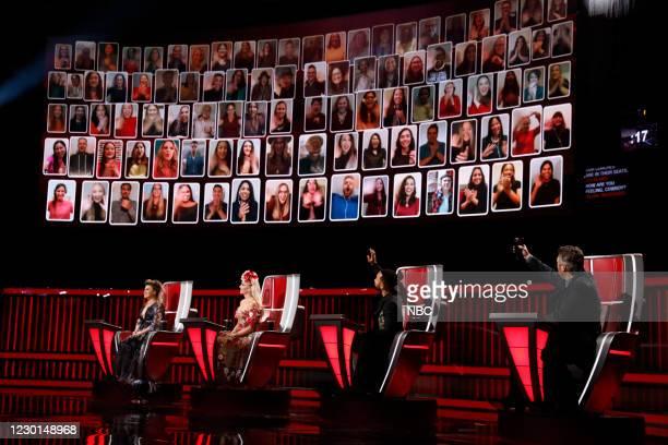 "Live Finale Results"" Episode 1914B -- Pictured: Kelly Clarkson, Gwen Stefani, John Legend, Blake Shelton --"