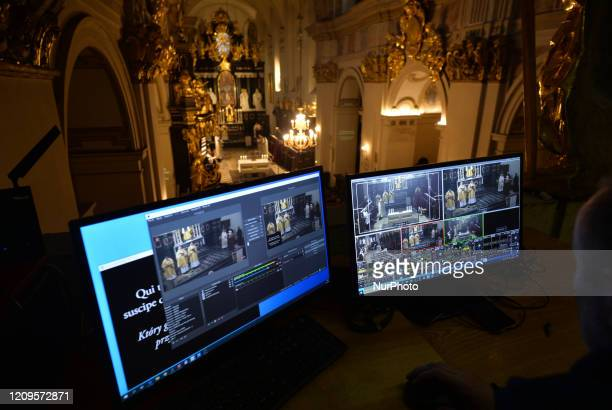 Live internet transmission from the Holy Thursday Mass inside the Benedictine Abbey in Tyniec marking the start of the Christian threeday celebration...