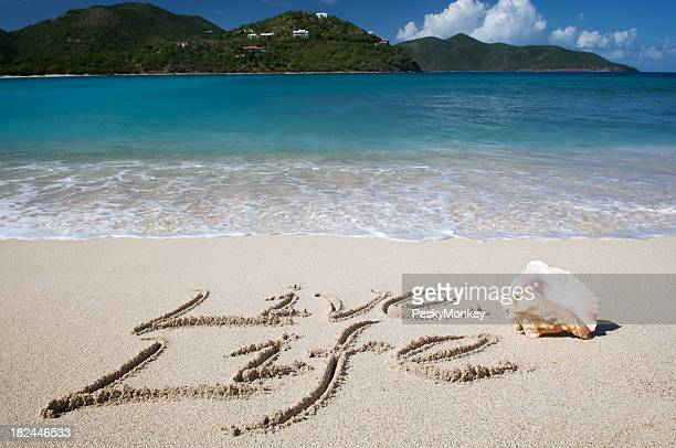 Live Life Inspirational Message in Sand with Shell Tropical Beach