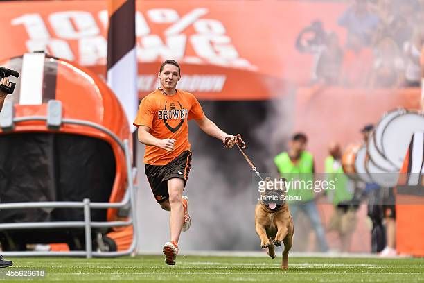 Live mascot Swagger of the Cleveland Browns runs on to the field before a game against the New Orleans Saints at FirstEnergy Stadium on September 14...