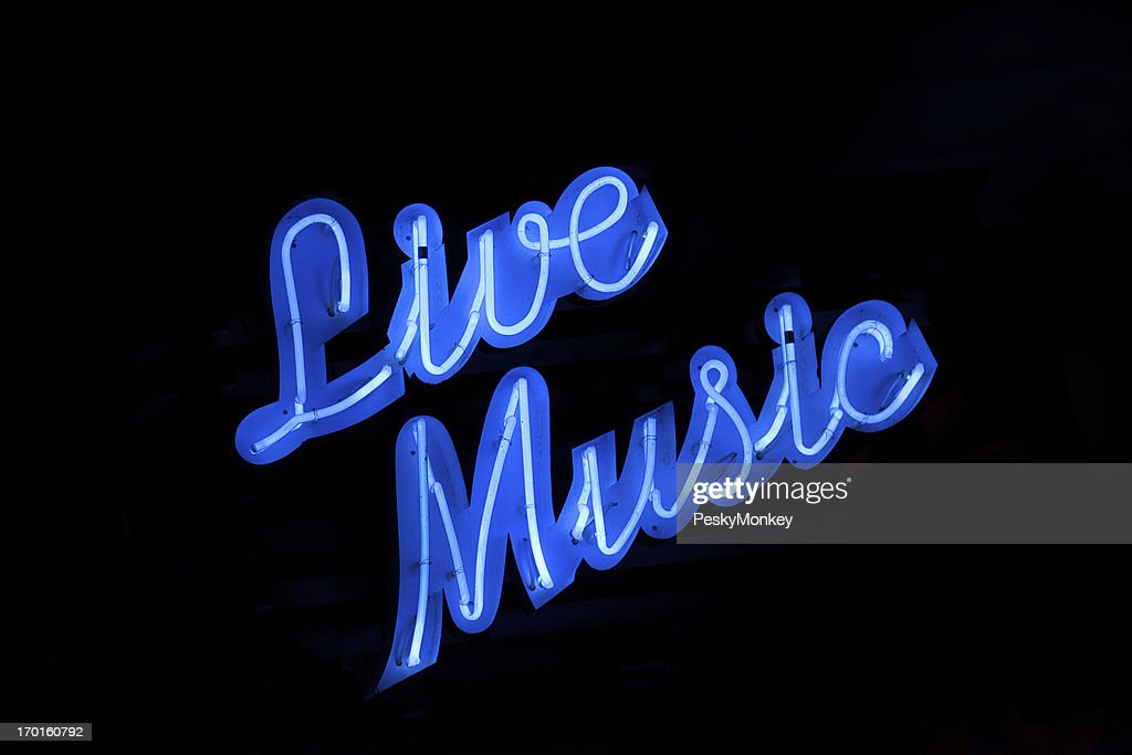 Live Music Neon Sign Black Background : Stock Photo
