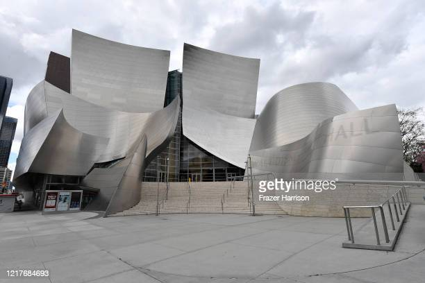 Live music venue The Walt Disney Concert Hall which remains closed In Los Angeles due to restrictive Coronavirus measures on April 08, 2020 in Los...
