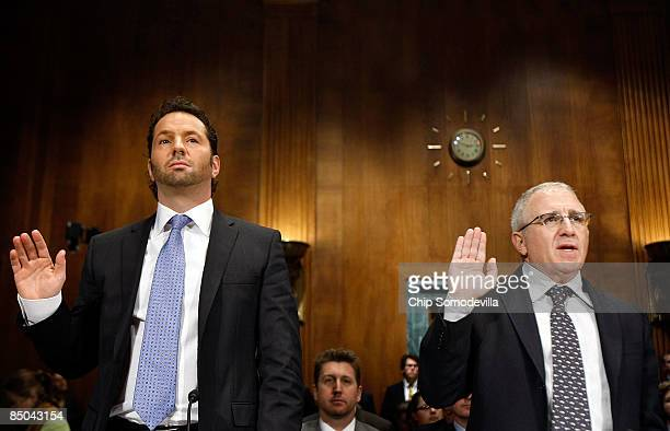 Live Nation President and CEO Michael Rapino and Ticketmaster Entertainment CEO Irving Azoff are sworn in before testifying to the Senate Judiciary...