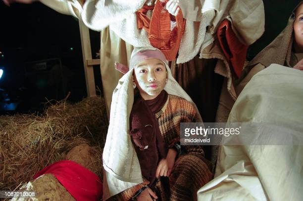 live nativity scene - nativity stock photos and pictures