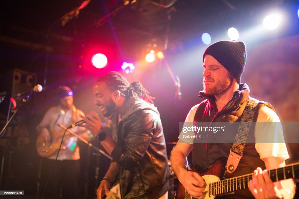 Live performance of rock band : Stock Photo